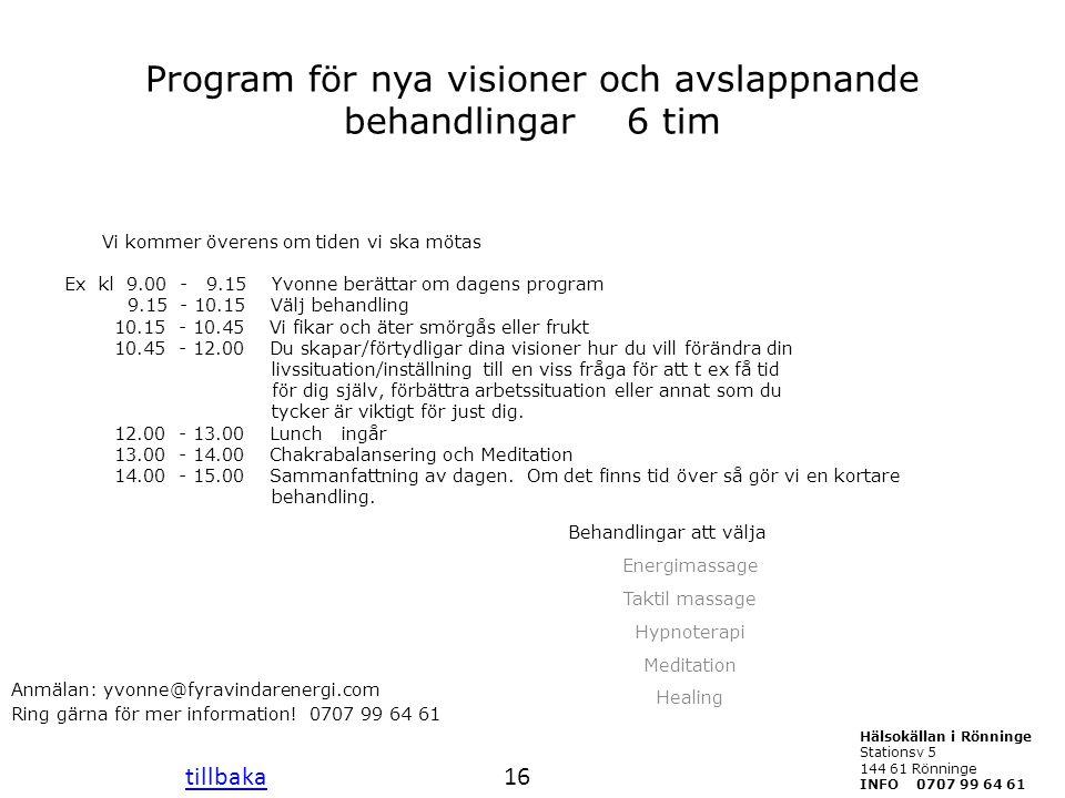 Program för nya visioner och avslappnande behandlingar 6 tim