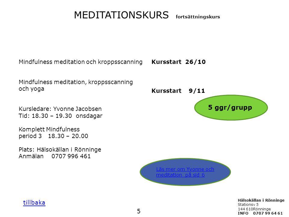 MEDITATIONSKURS fortsättningskurs