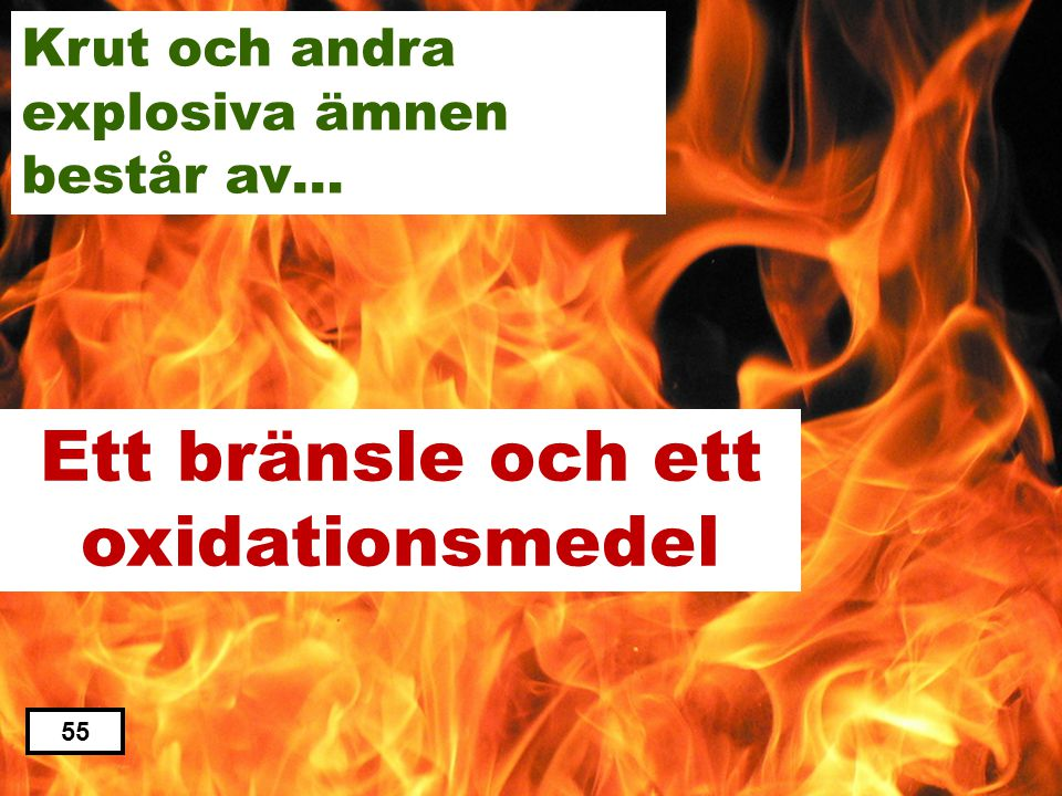 Ett bränsle och ett oxidationsmedel