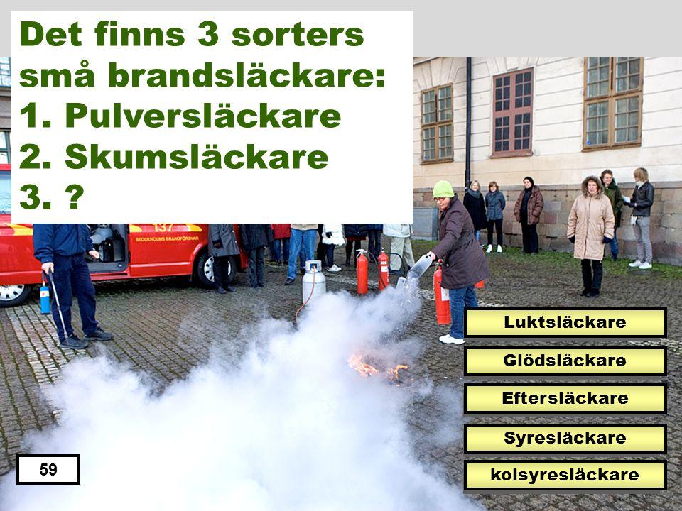 Det finns 3 sorters små brandsläckare: