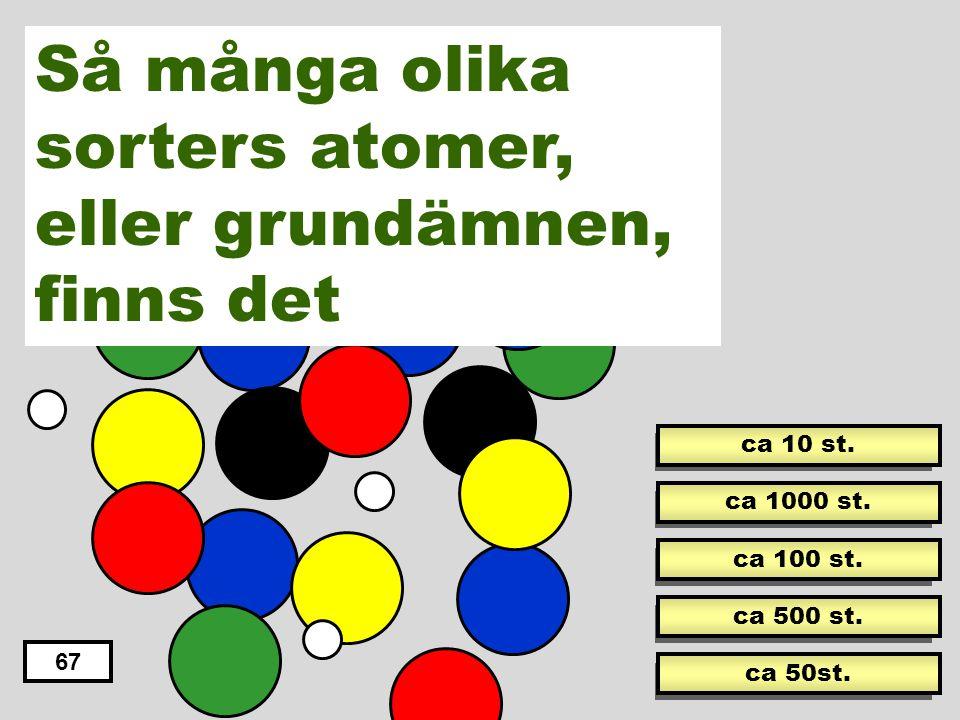 Så många olika sorters atomer, eller grundämnen, finns det
