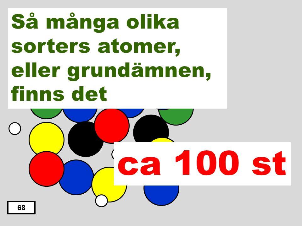 ca 100 st Så många olika sorters atomer, eller grundämnen, finns det