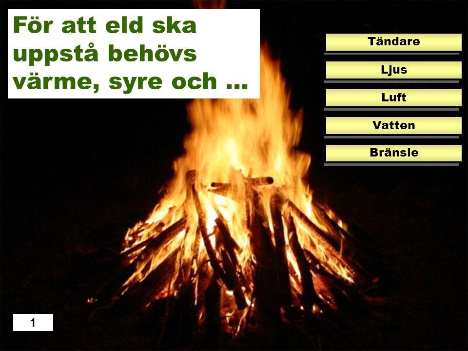 För att eld ska uppstå behövs värme, syre och …