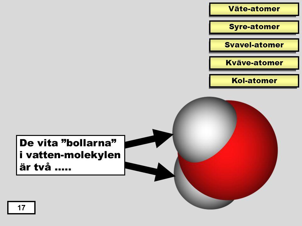 De vita bollarna i vatten-molekylen är två …..
