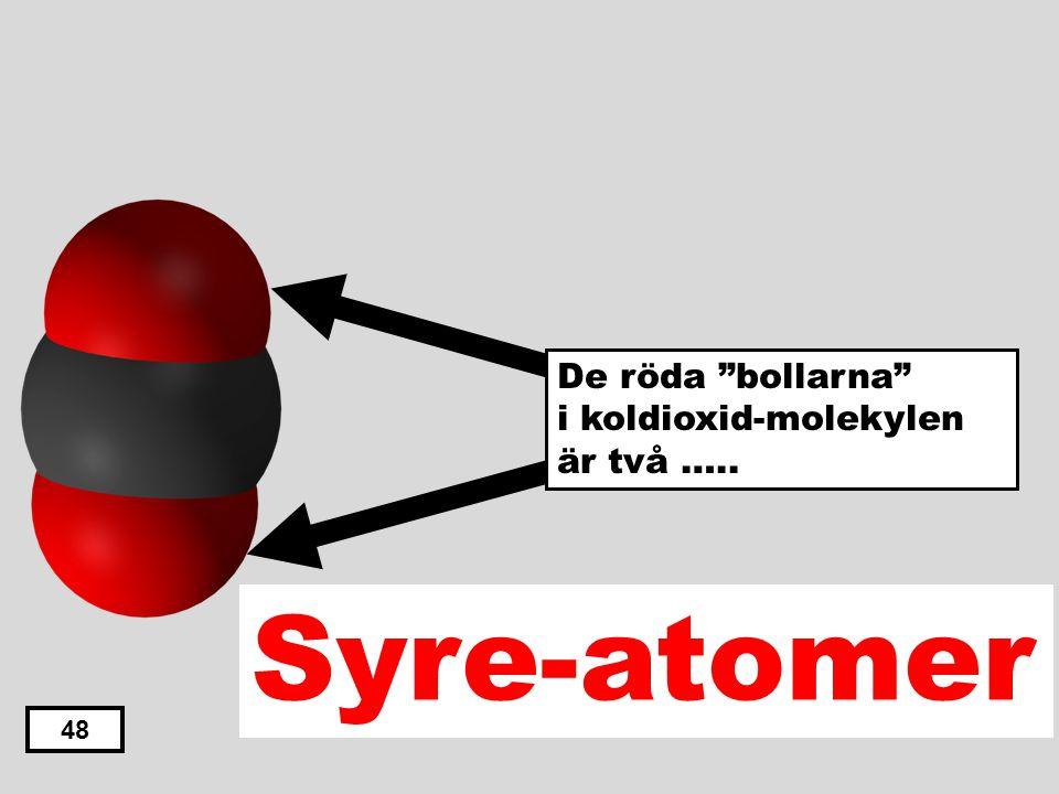 De röda bollarna i koldioxid-molekylen