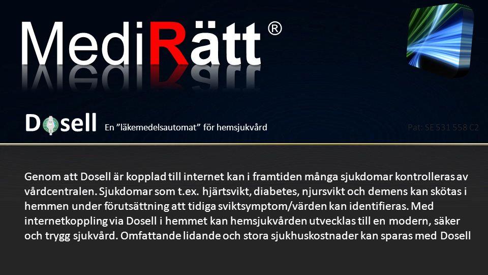 MediRätt ® D sell. En läkemedelsautomat för hemsjukvård. Pat: SE 531 558 C2.