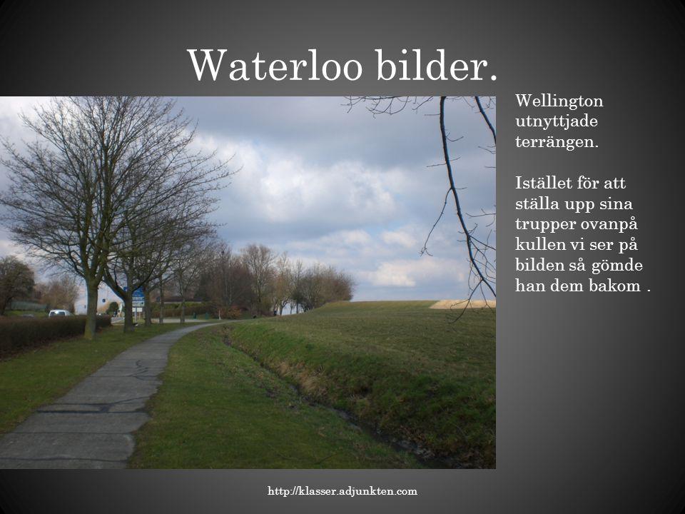 Waterloo bilder. Wellington utnyttjade terrängen.