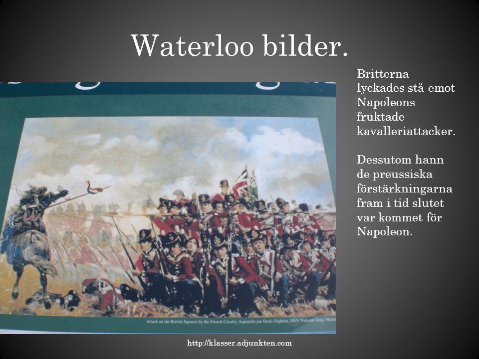 Waterloo bilder. Britterna lyckades stå emot Napoleons fruktade kavalleriattacker.