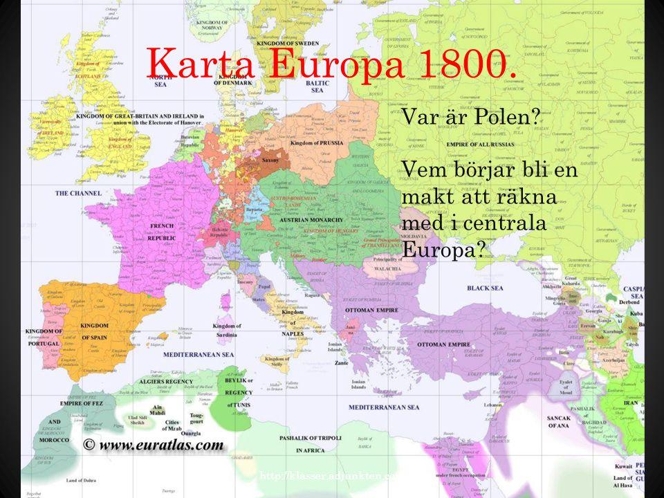 Karta Europa 1800. Var är Polen
