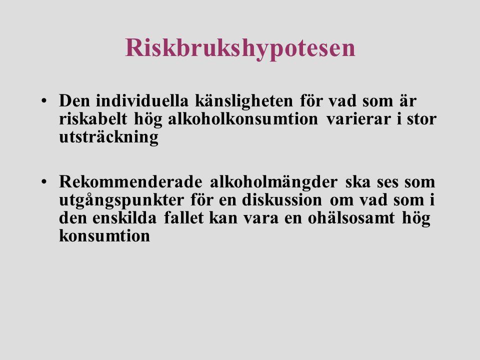 Riskbrukshypotesen Den individuella känsligheten för vad som är riskabelt hög alkoholkonsumtion varierar i stor utsträckning.