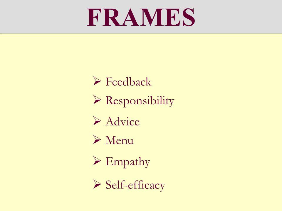 FRAMES Feedback Responsibility Advice Menu Empathy Self-efficacy