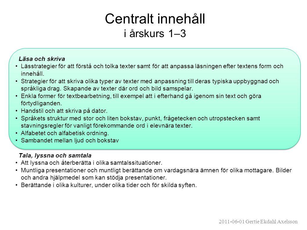 Centralt innehåll i årskurs 1–3