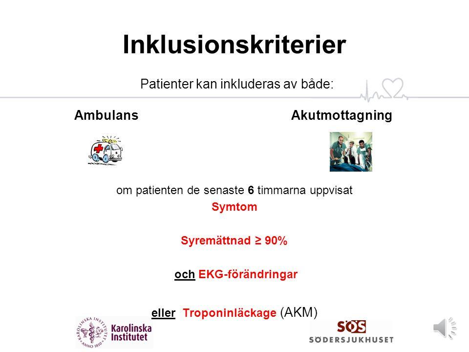 Inklusionskriterier Ambulans Akutmottagning