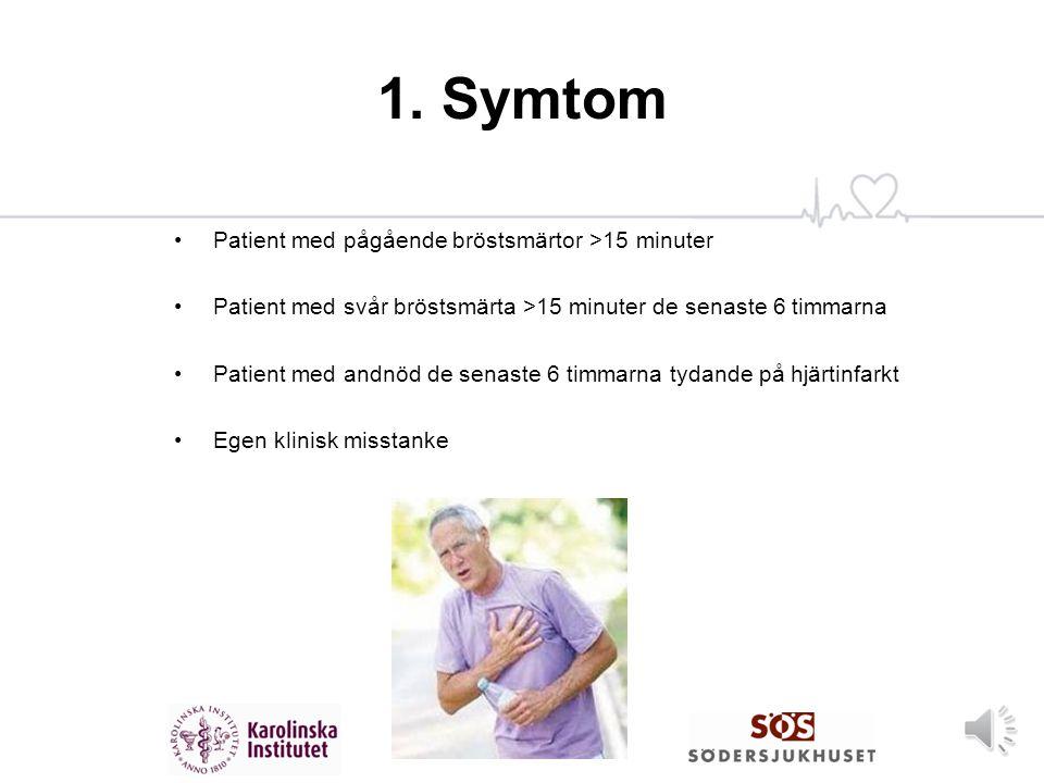 1. Symtom Patient med pågående bröstsmärtor >15 minuter