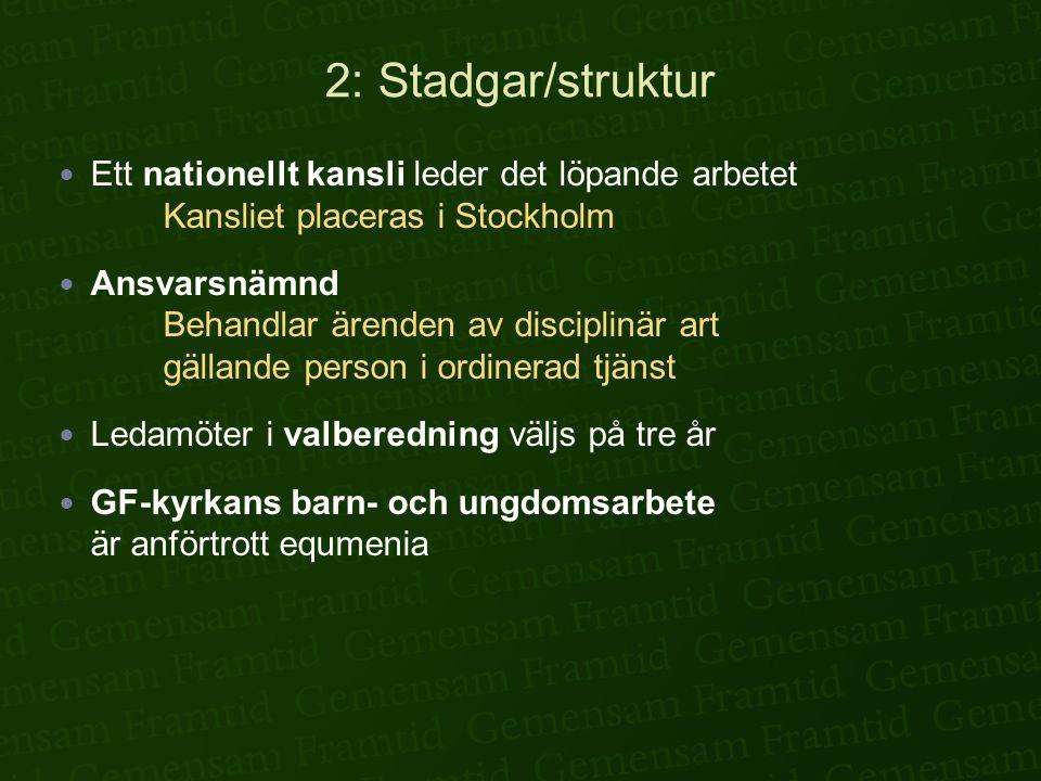 2: Stadgar/struktur Ett nationellt kansli leder det löpande arbetet Kansliet placeras i Stockholm.