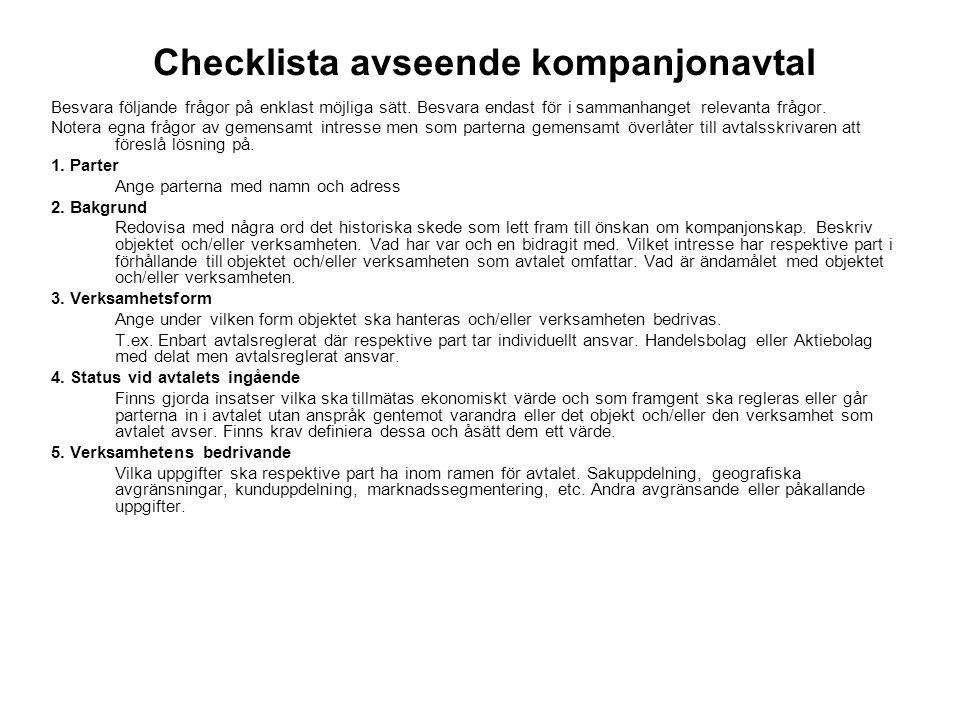 Checklista avseende kompanjonavtal