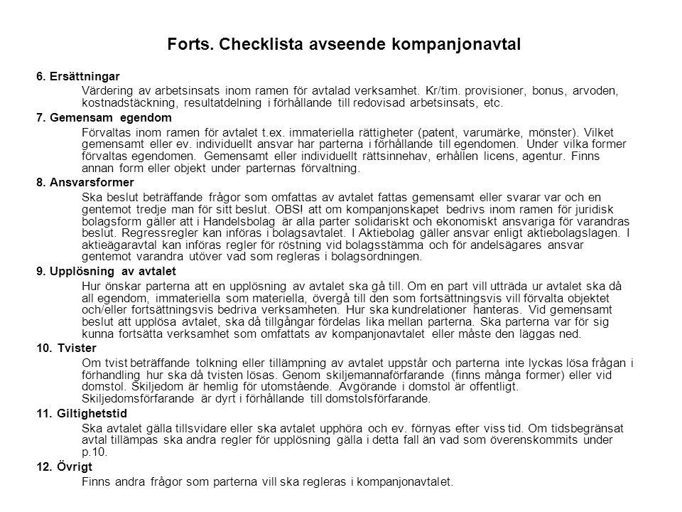Forts. Checklista avseende kompanjonavtal