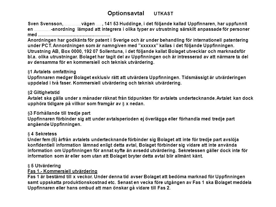 Optionsavtal UTKAST