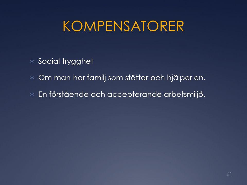 KOMPENSATORER Social trygghet