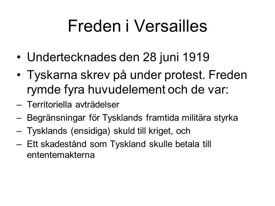 Freden i Versailles Undertecknades den 28 juni 1919