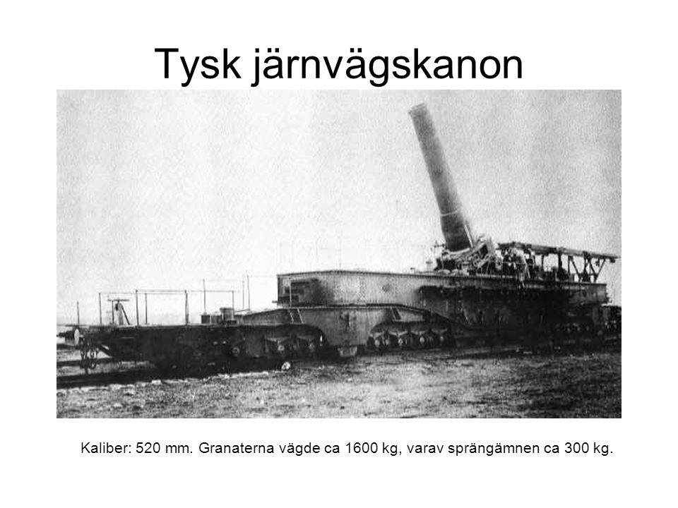 Tysk järnvägskanon Kaliber: 520 mm. Granaterna vägde ca 1600 kg, varav sprängämnen ca 300 kg.