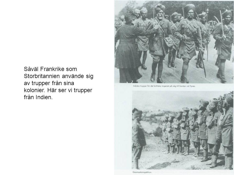 Såväl Frankrike som Storbritannien använde sig av trupper från sina kolonier.