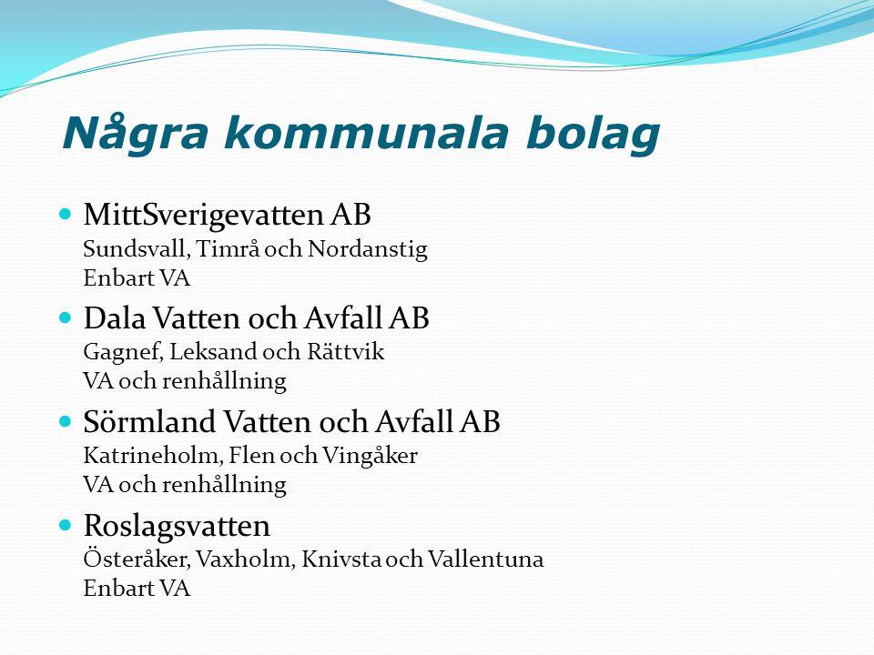 Några kommunala bolag MittSverigevatten AB Sundsvall, Timrå och Nordanstig Enbart VA.