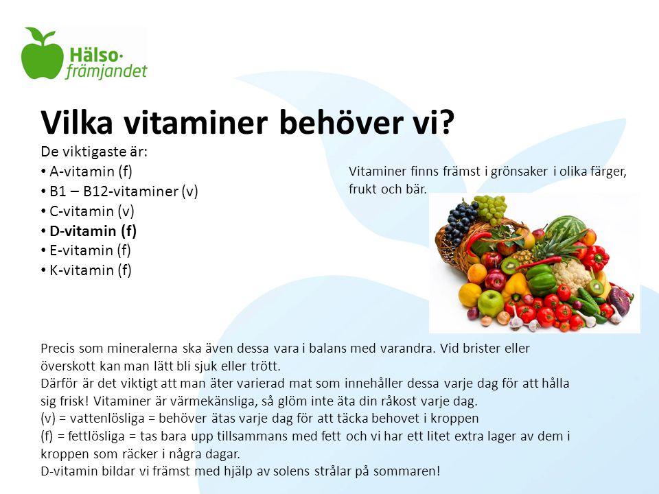 Vilka vitaminer behöver vi
