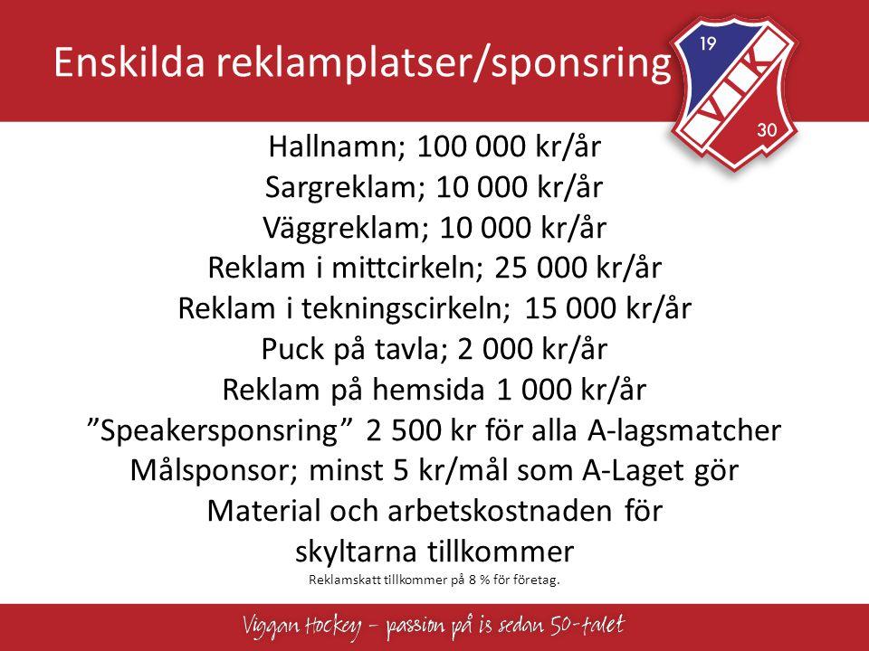Enskilda reklamplatser/sponsring