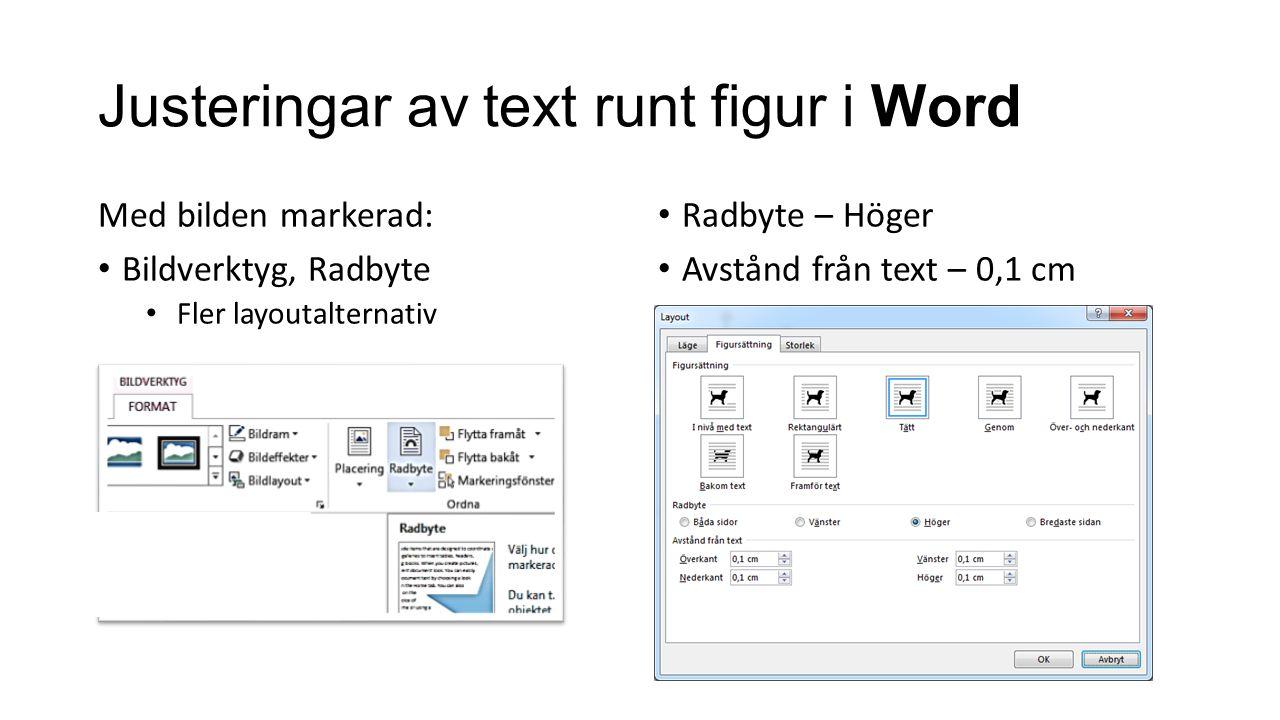 Justeringar av text runt figur i Word