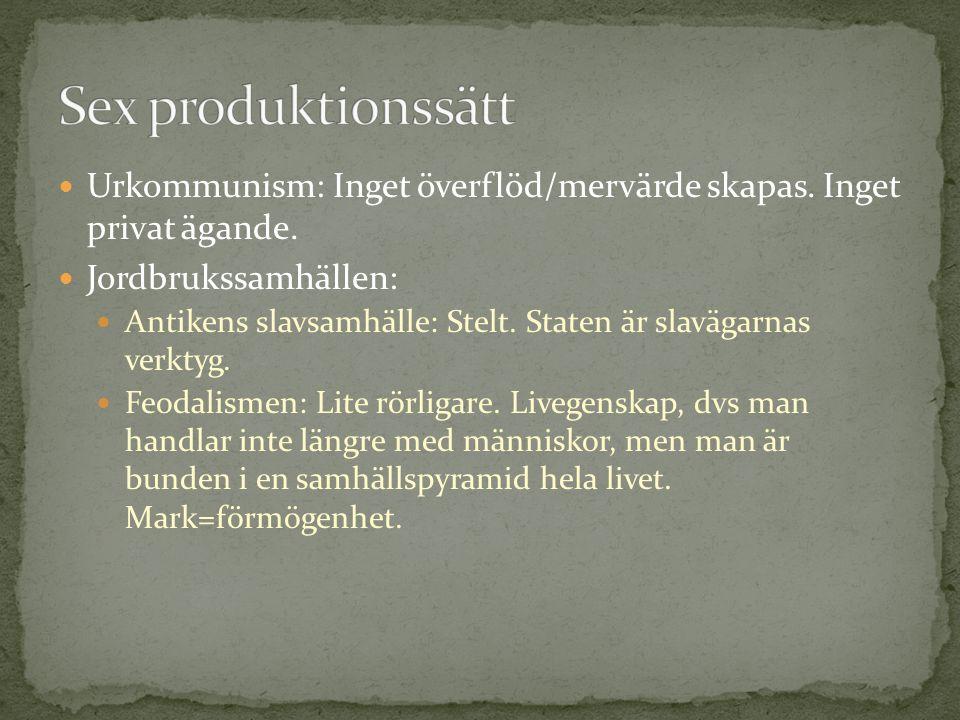Sex produktionssätt Urkommunism: Inget överflöd/mervärde skapas. Inget privat ägande. Jordbrukssamhällen: