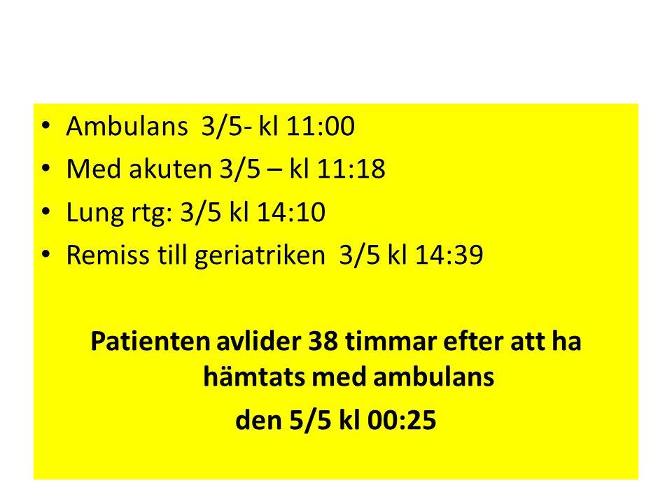 Patienten avlider 38 timmar efter att ha hämtats med ambulans
