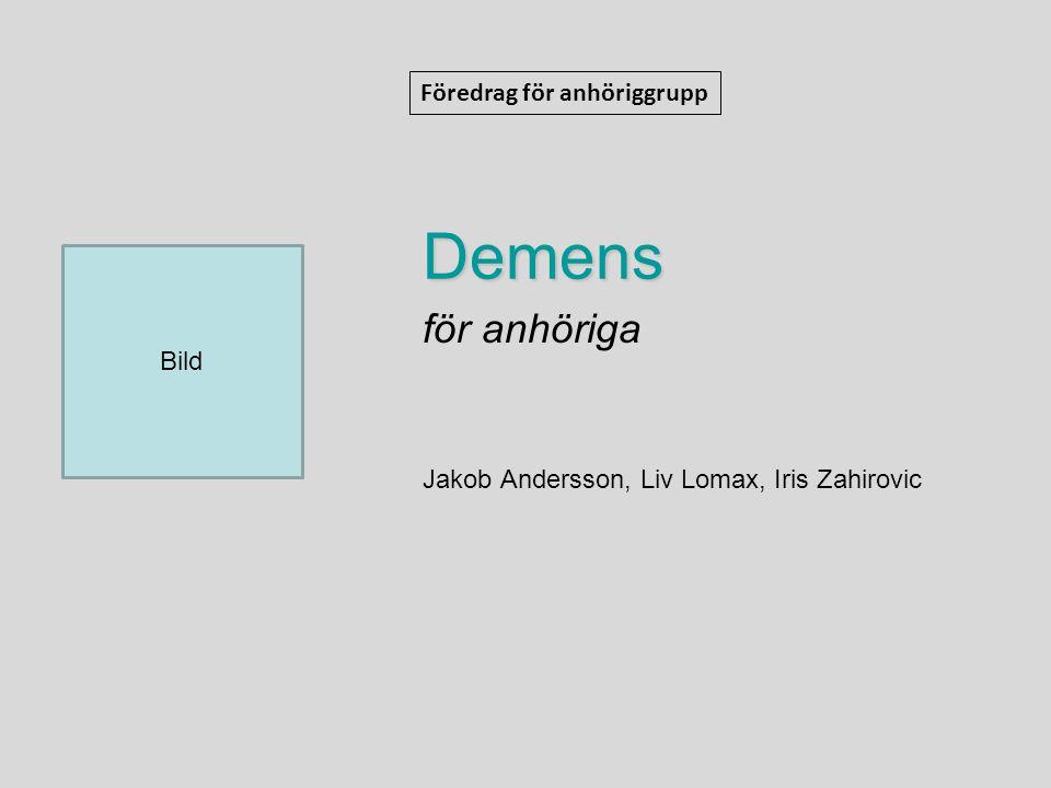 för anhöriga Jakob Andersson, Liv Lomax, Iris Zahirovic