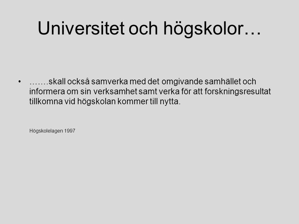 Universitet och högskolor…