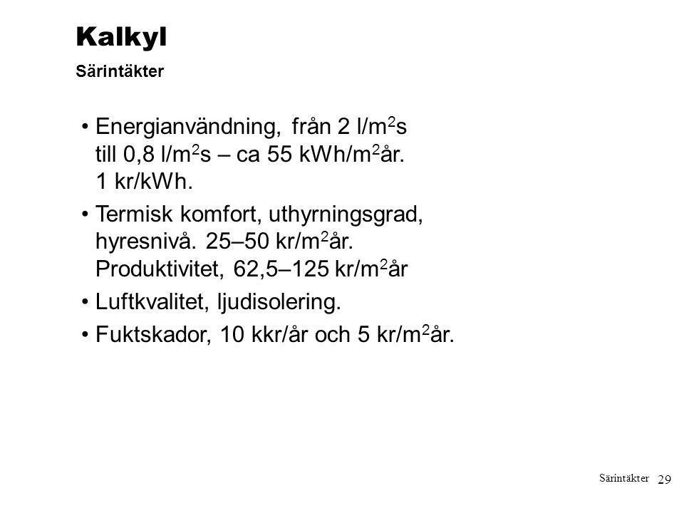 Kalkyl Särintäkter. • Energianvändning, från 2 l/m2s till 0,8 l/m2s – ca 55 kWh/m2år. 1 kr/kWh.