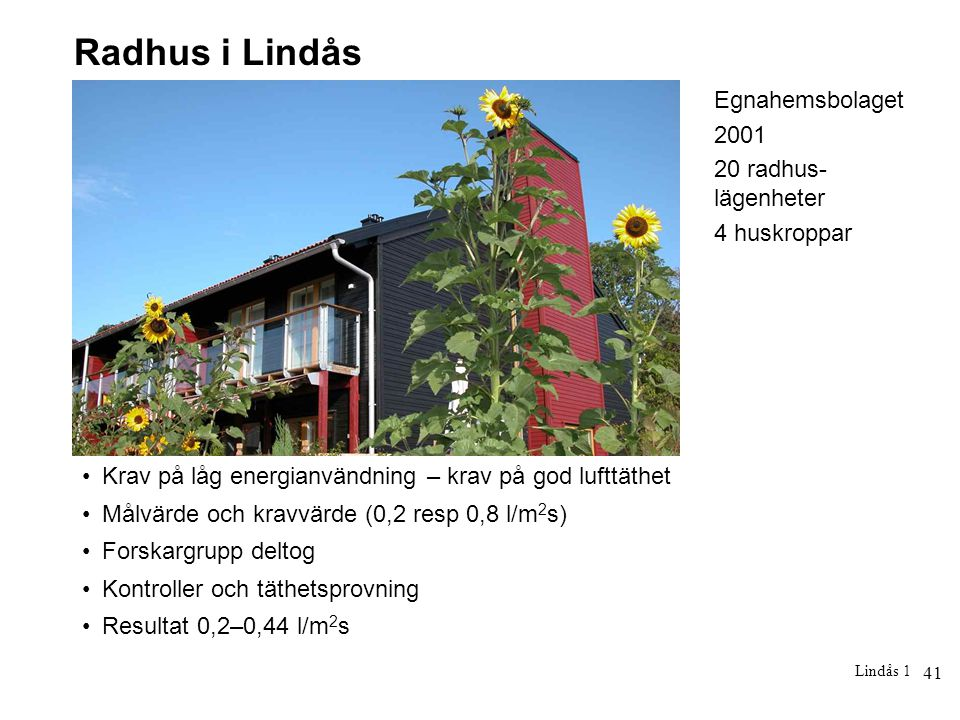 Radhus i Lindås Egnahemsbolaget 2001 20 radhus-lägenheter 4 huskroppar