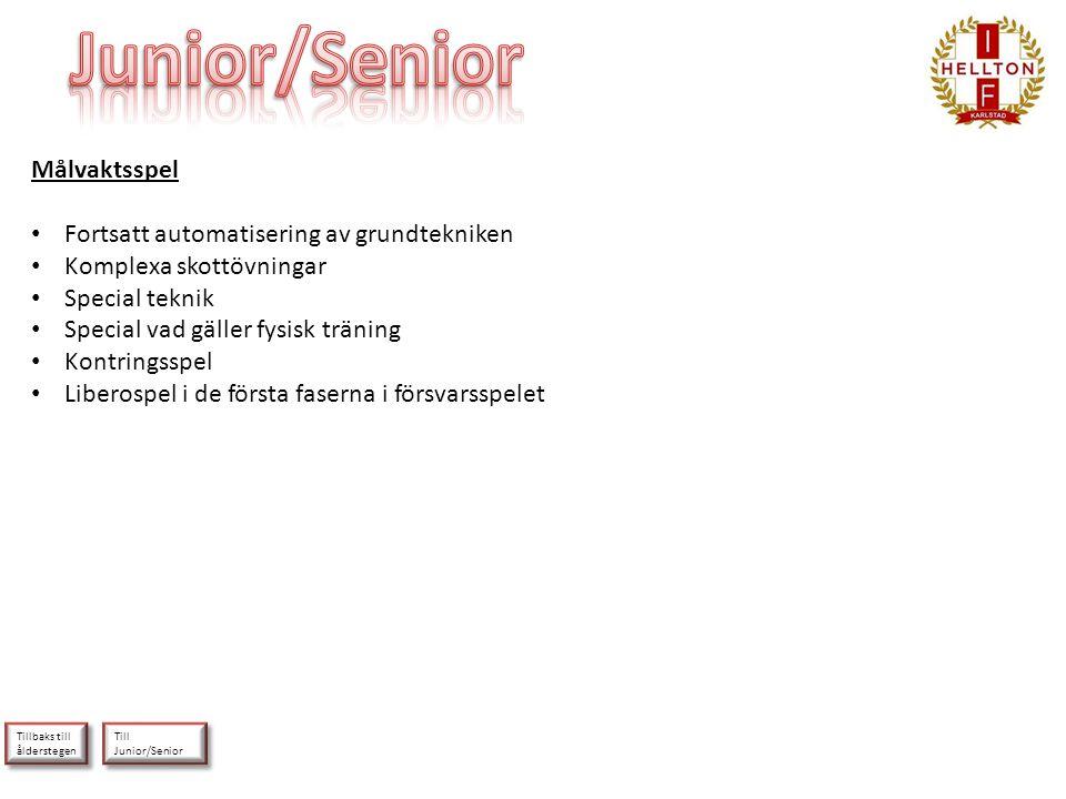 Junior/Senior Målvaktsspel Fortsatt automatisering av grundtekniken