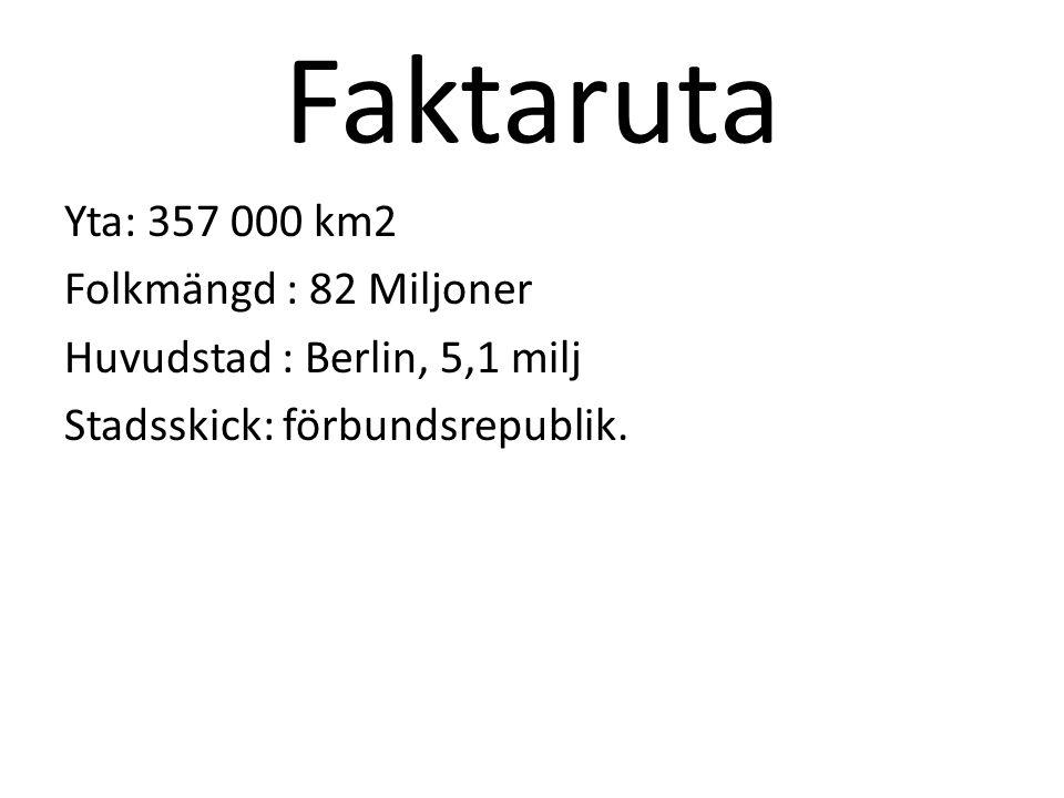 Faktaruta Yta: 357 000 km2 Folkmängd : 82 Miljoner Huvudstad : Berlin, 5,1 milj Stadsskick: förbundsrepublik.