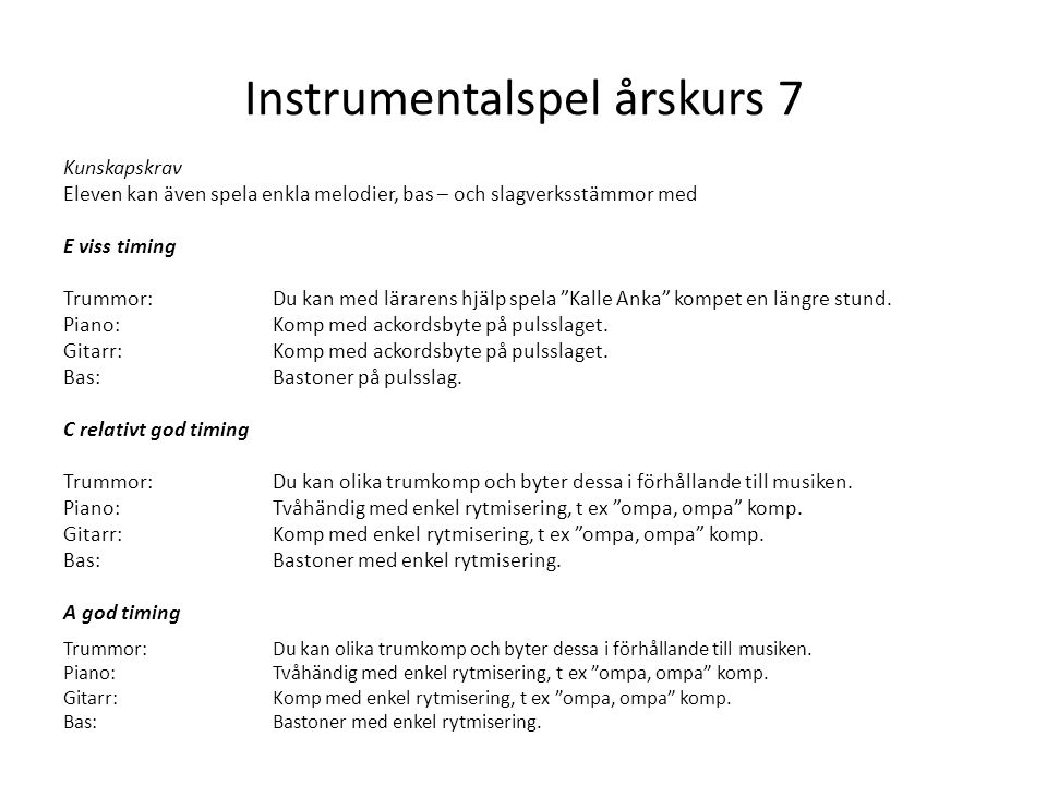 Instrumentalspel årskurs 7