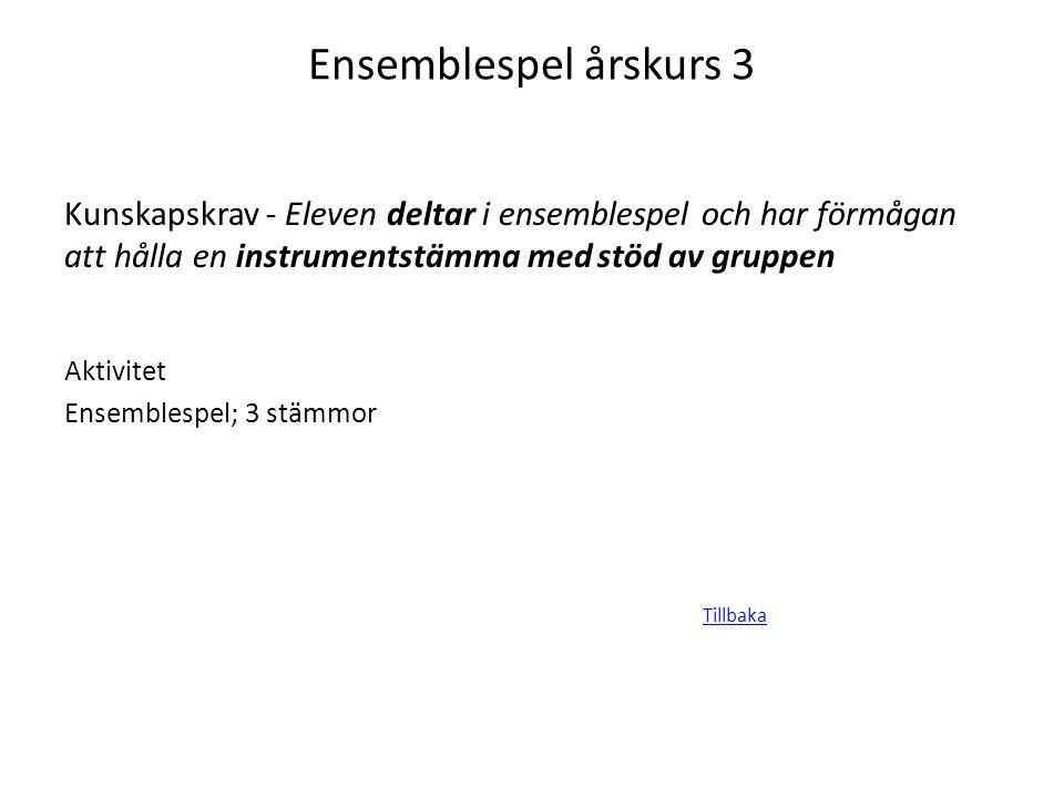 Ensemblespel årskurs 3 Tillbaka