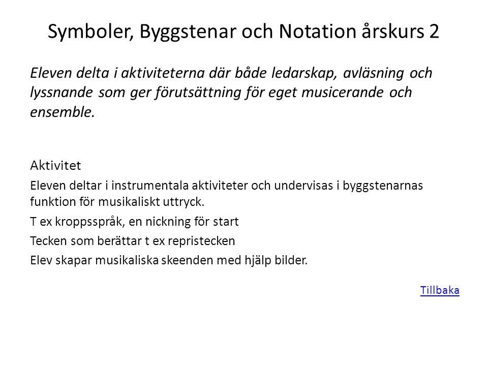 Symboler, Byggstenar och Notation årskurs 2