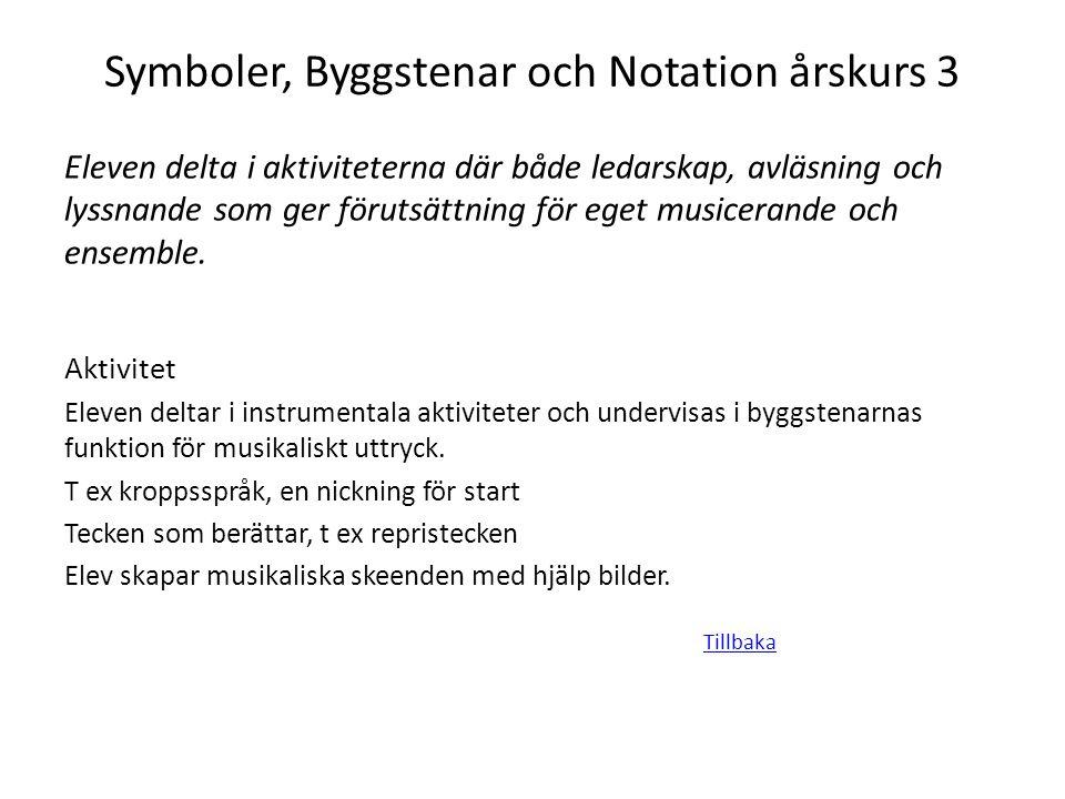 Symboler, Byggstenar och Notation årskurs 3