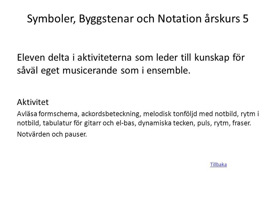 Symboler, Byggstenar och Notation årskurs 5