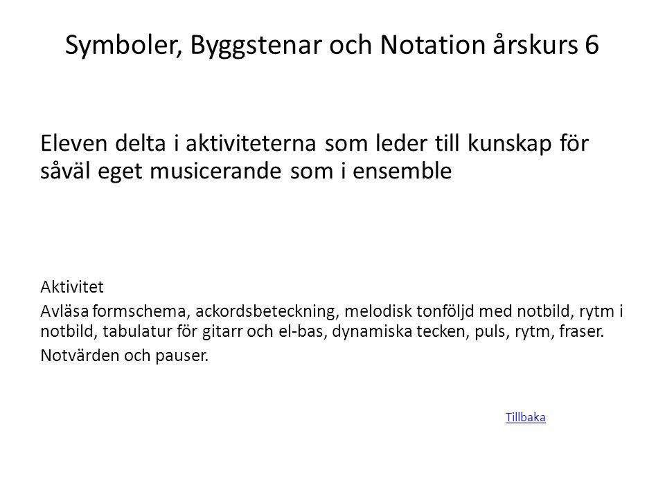 Symboler, Byggstenar och Notation årskurs 6