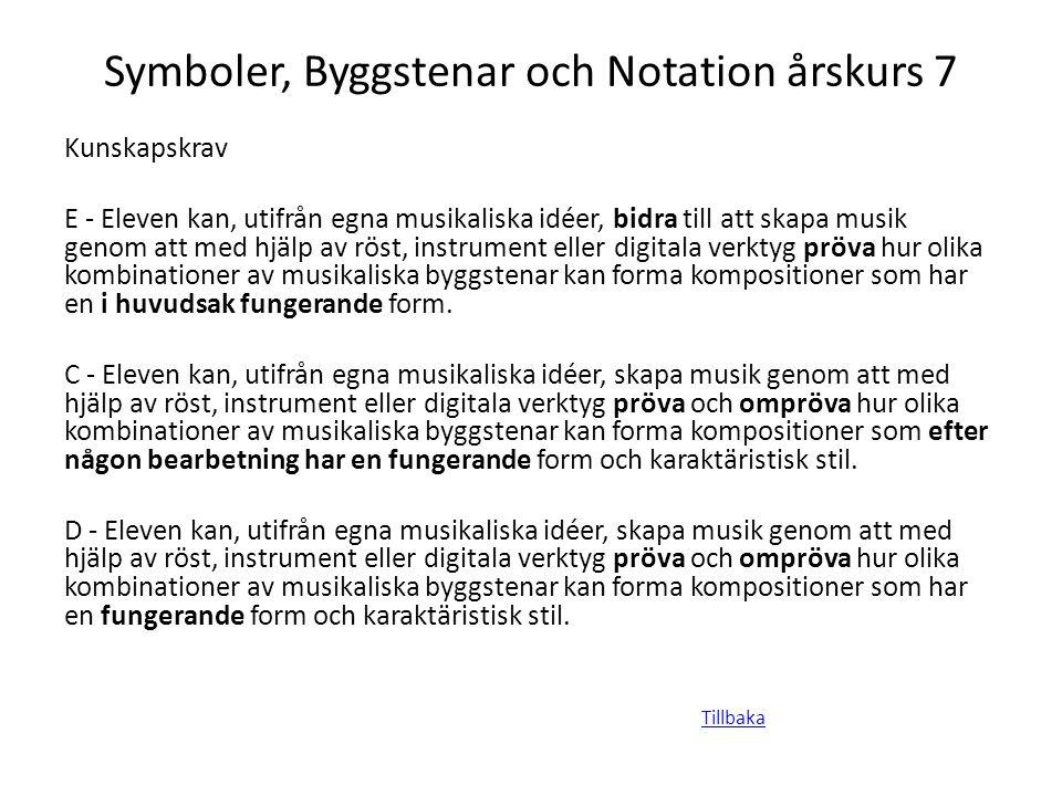 Symboler, Byggstenar och Notation årskurs 7