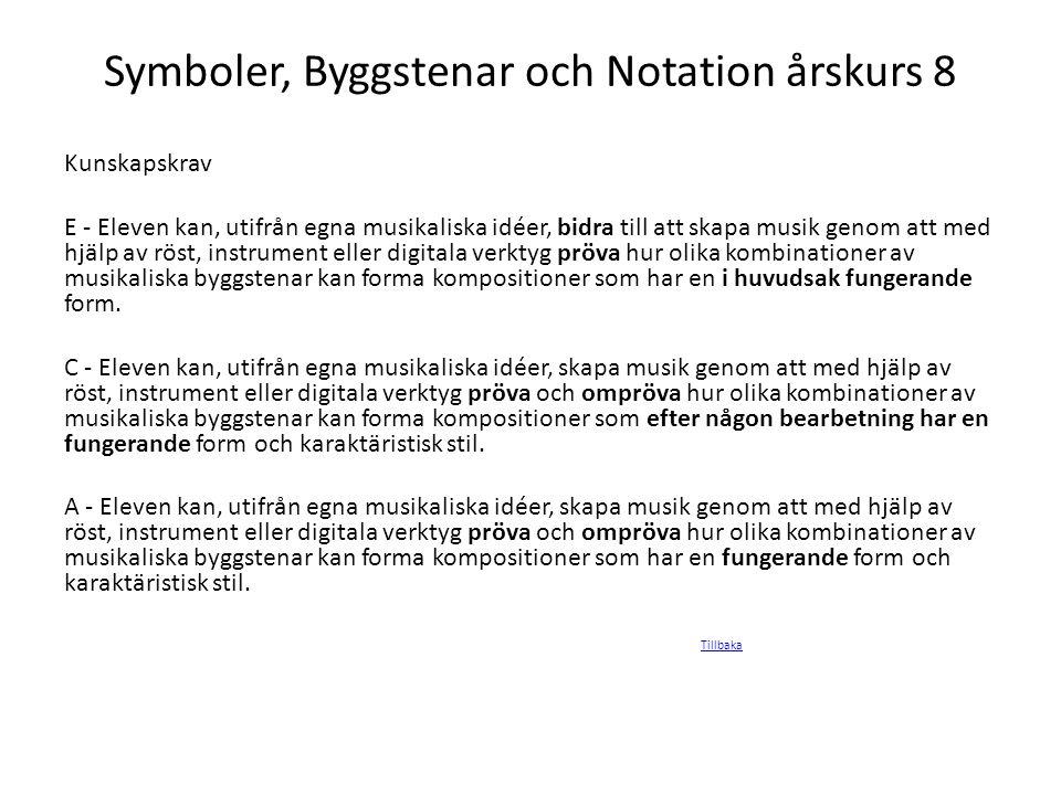 Symboler, Byggstenar och Notation årskurs 8
