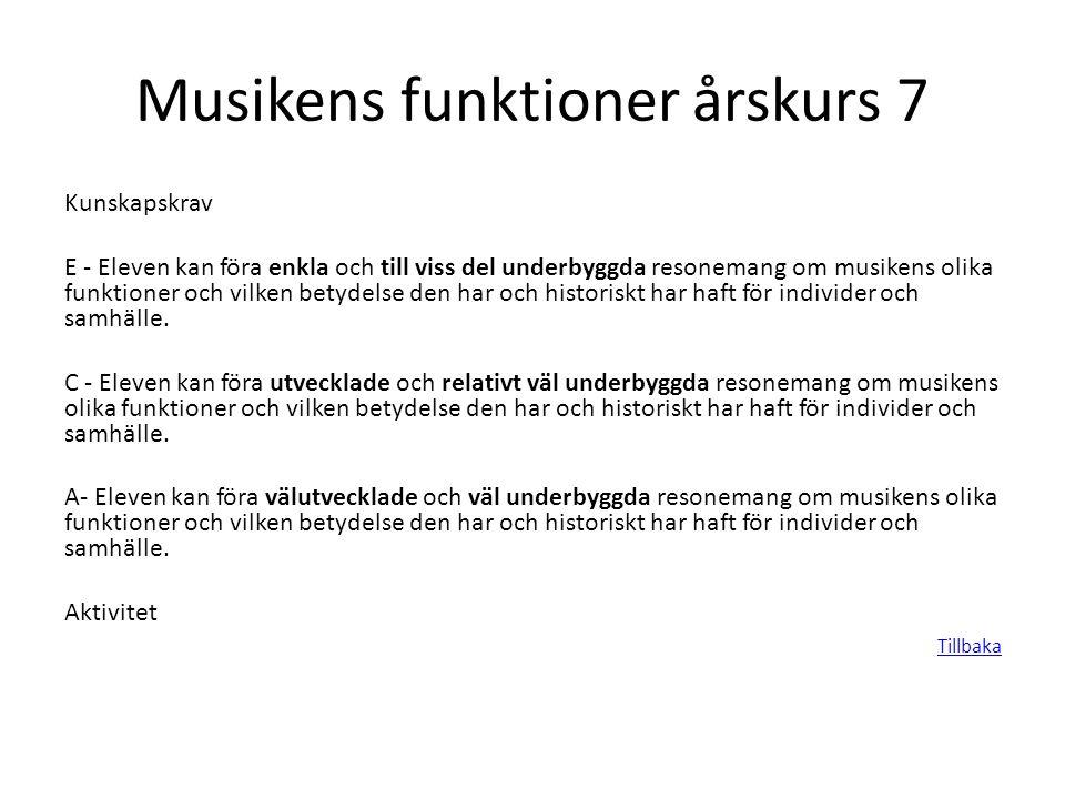 Musikens funktioner årskurs 7