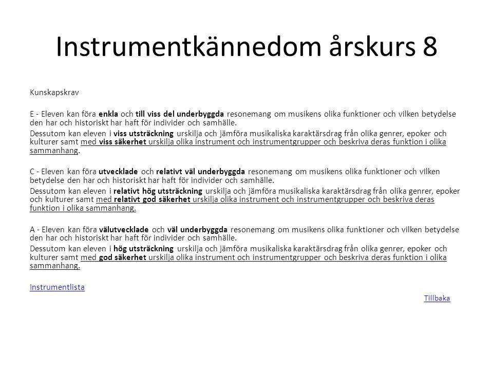 Instrumentkännedom årskurs 8