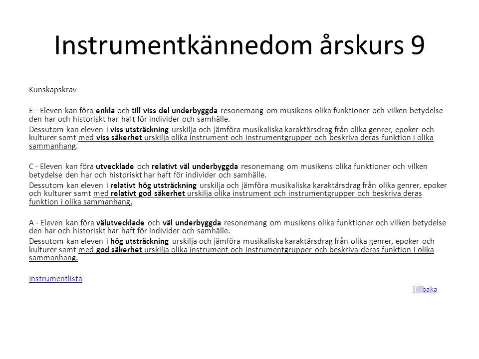 Instrumentkännedom årskurs 9