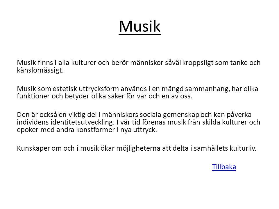 Musik Musik finns i alla kulturer och berör människor såväl kroppsligt som tanke och känslomässigt.